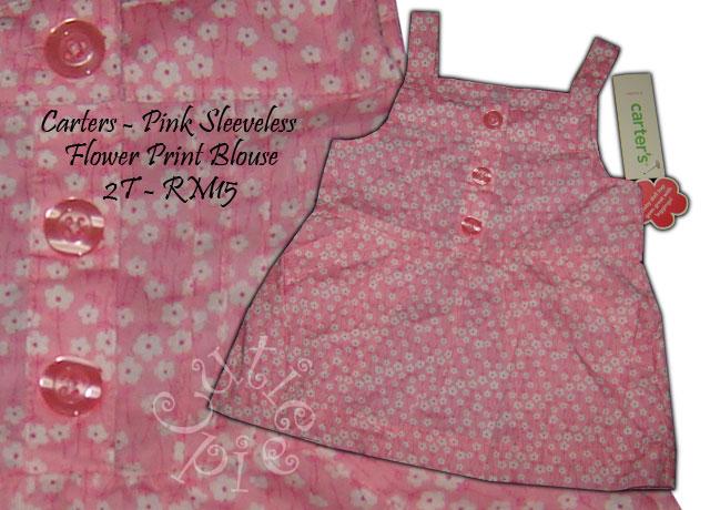 Carters Pink Flowery Print Sleeveless Blouse