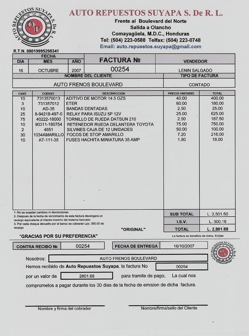 Gestion administrativa factura for Salida de la oficina internacional de origen aliexpress