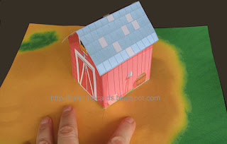 barn pop up card