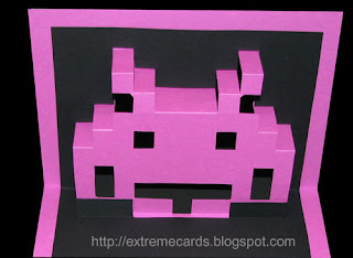 space invader pop up card