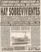 Guerra de Malvinas. Hundimiento del crucero ARA General Belgrano. Mayo 1982 cronica mayo