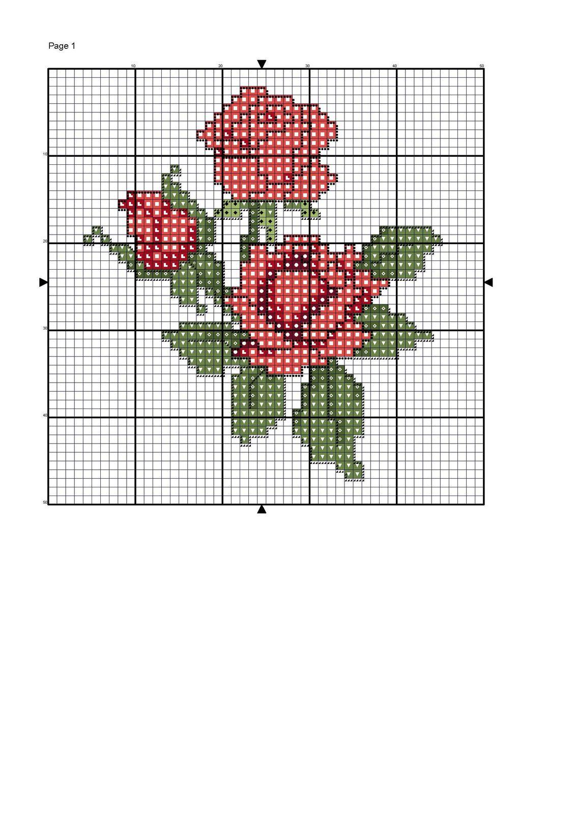 Graficos de variadas flores en punto de cruz