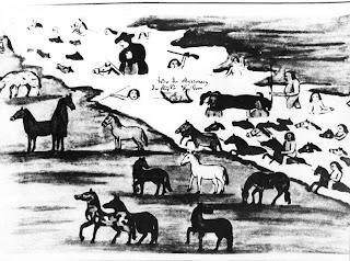 'Misioneros Jesuitas e indios atravesando un río', dibujo del Padre Jesuita Florián Paucke