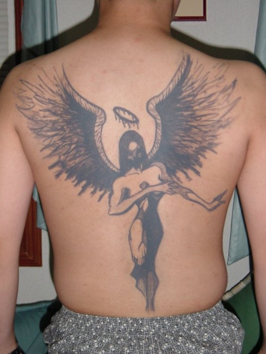 Angel Tattoo Art on Back Body Men