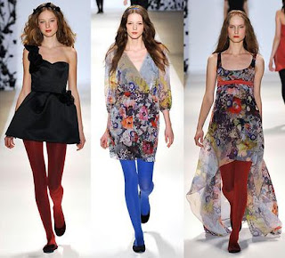 Bright colored tights on the runway Erin Fetherston @ Chasing Davies