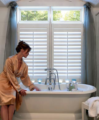 Bathroom window treatments bali blinds for Blinds bathroom window