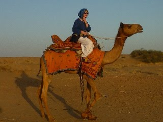me on the camel called 'Lucky'