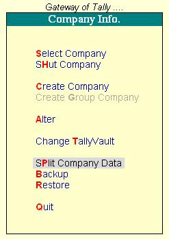 Image result for split company data in tally
