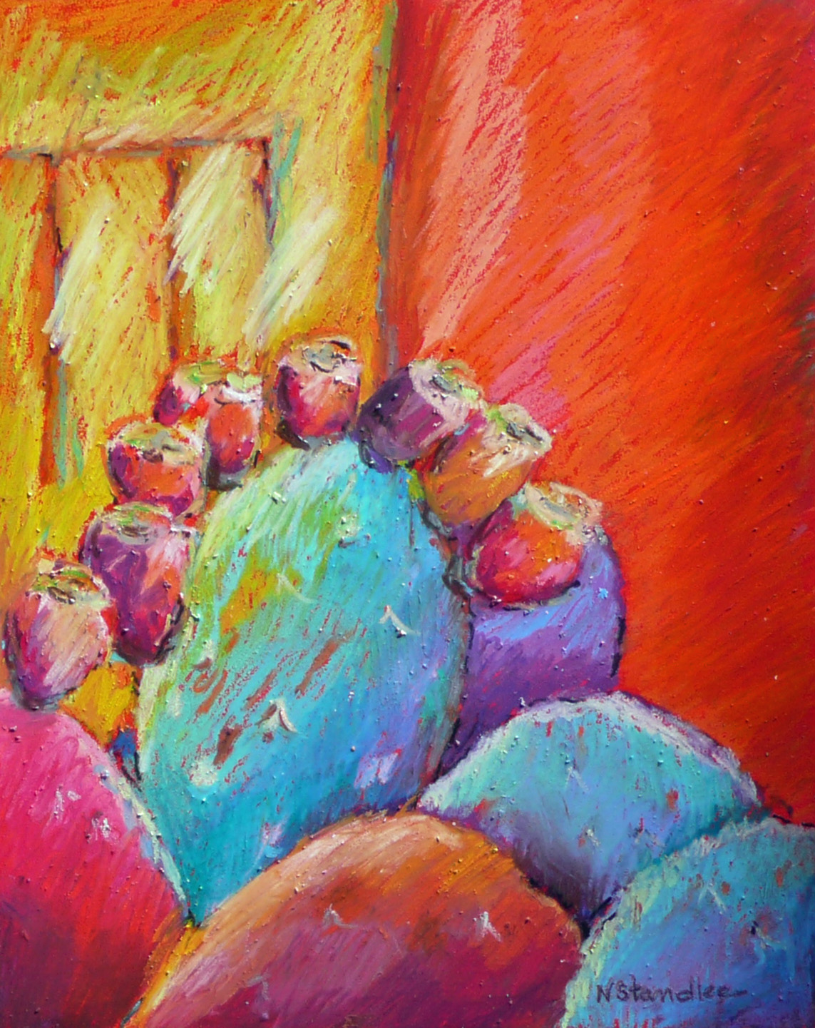 daily painters abstract gallery oil pastel cactus