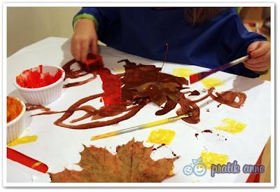 Sonbahar aktivitesi – Kuru yaprak ile baskı boya