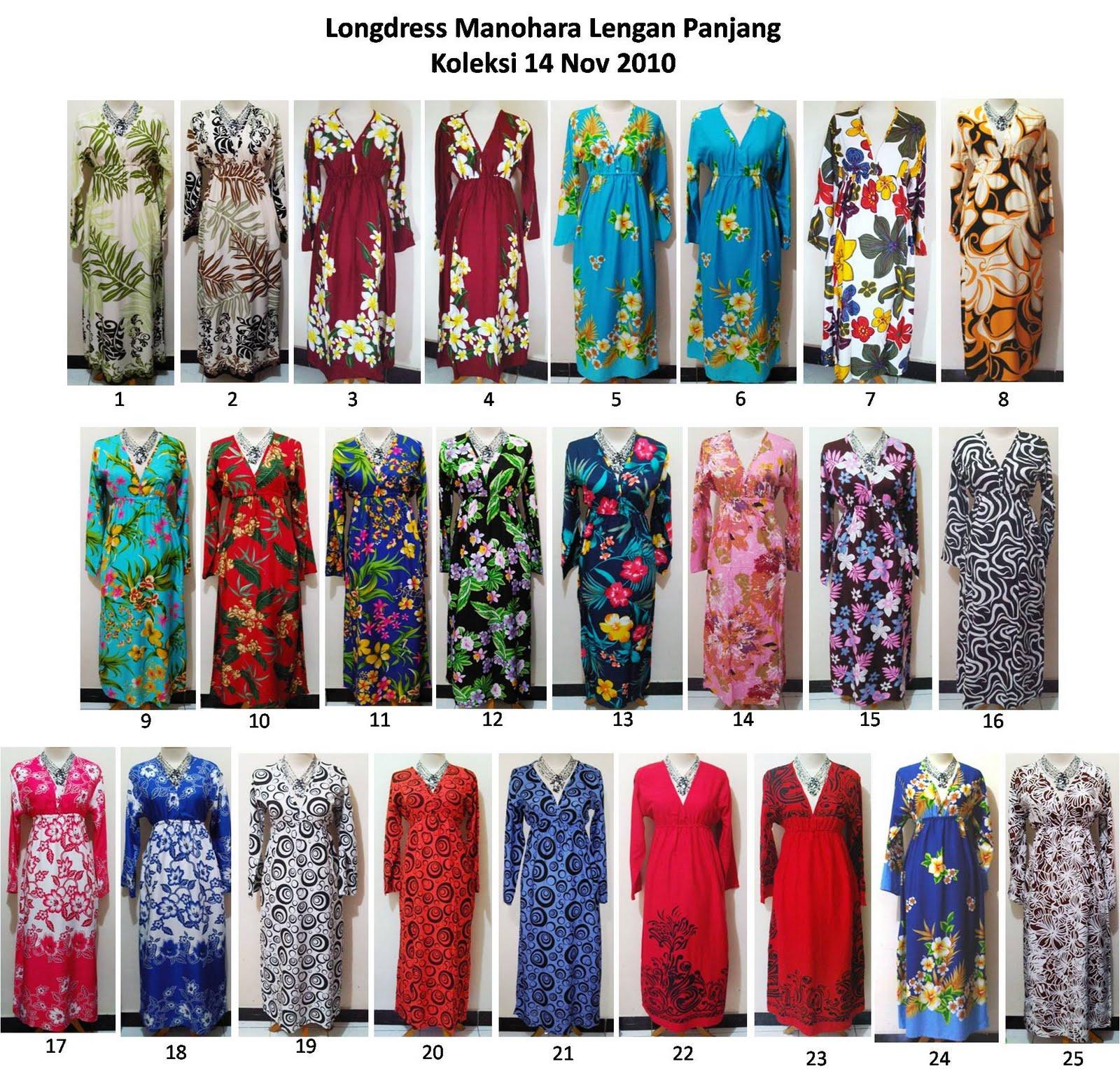 Baju Modern Long Dress Manohara Lengan Panjang Longdress Daster