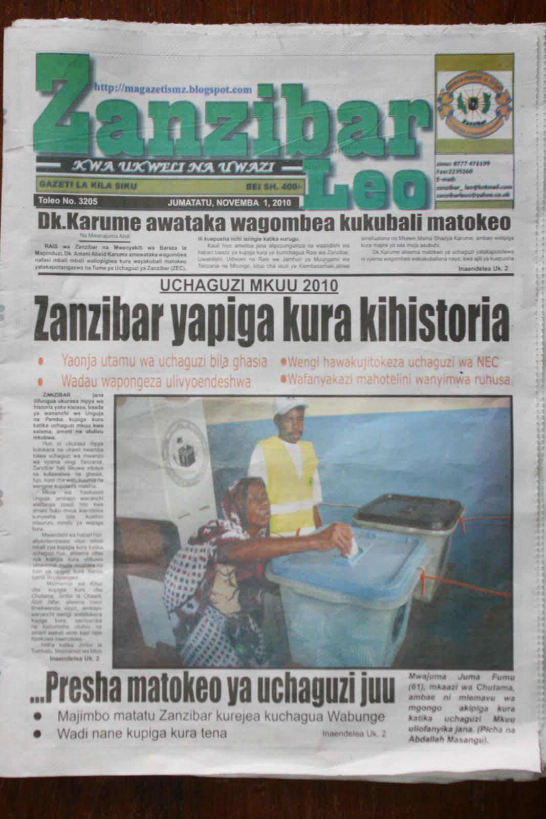 UKURASA wa mbele wa Gazeti Zanzibar Leo la Novemba 1, 2010