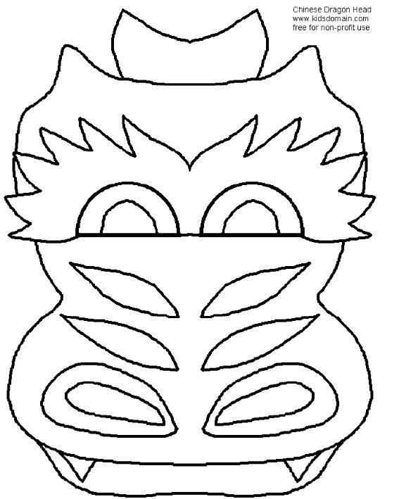 chinese new year dragon mask coloring pages