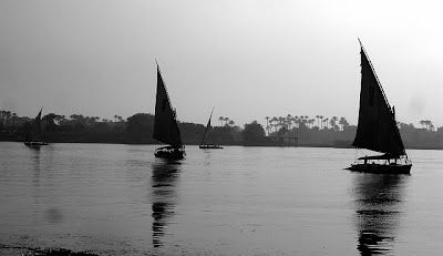 4 Nile boats on the river Nile in Egypt, Cairo.