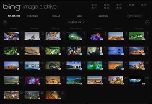 Archivo de imagenes de Bing