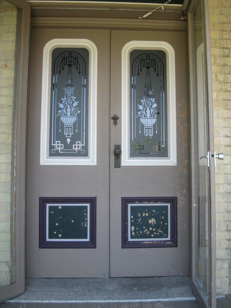 The dusty victorian victorian front entrance doors for Front door with opening window