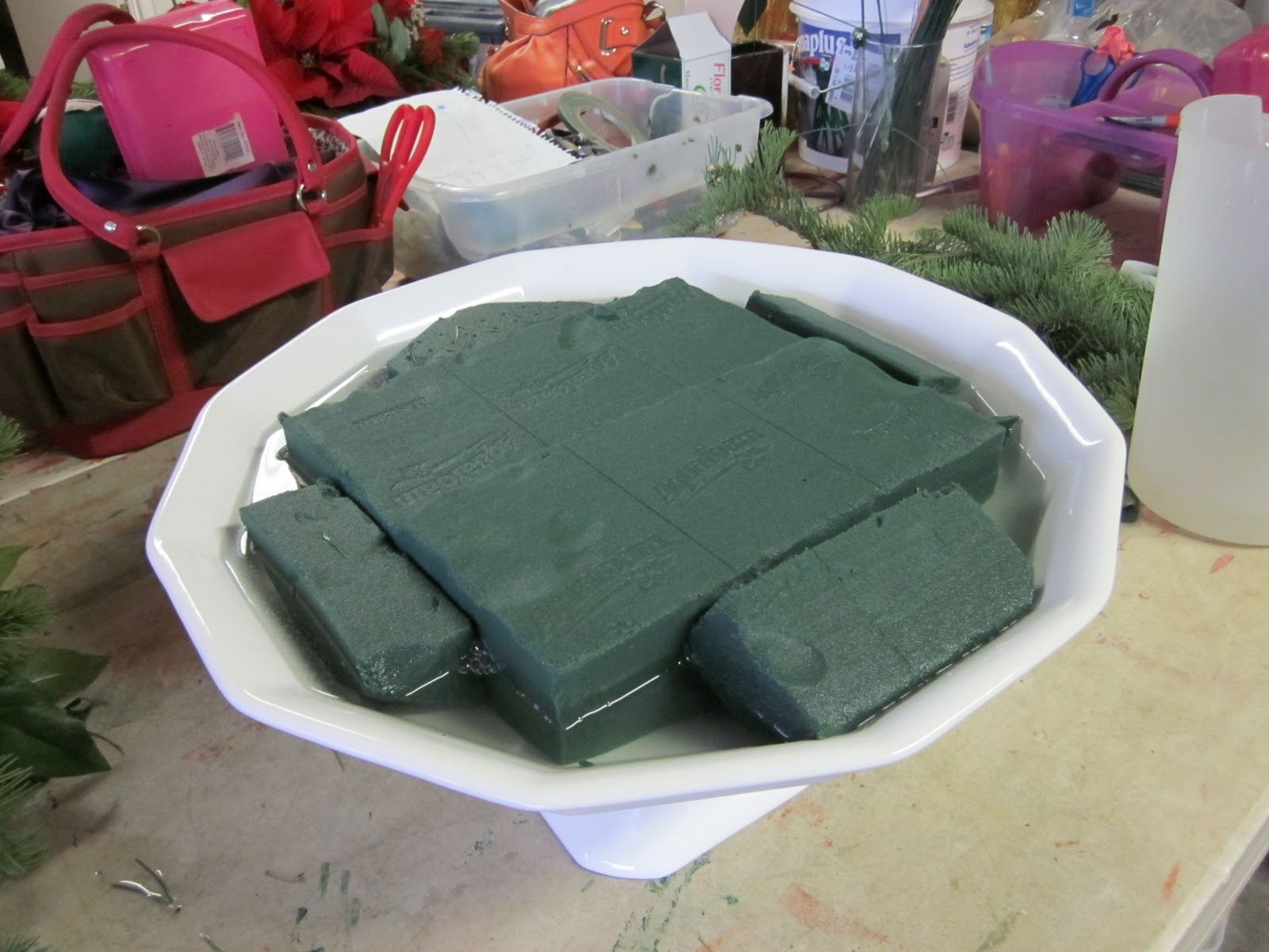 Wet Florist Foam Cut To Fit Tightly Inside This Will Hold Our Stems In  Place Floral Foam Can Be Purchased From Micheal's For Fresh Flowers Make  Sure