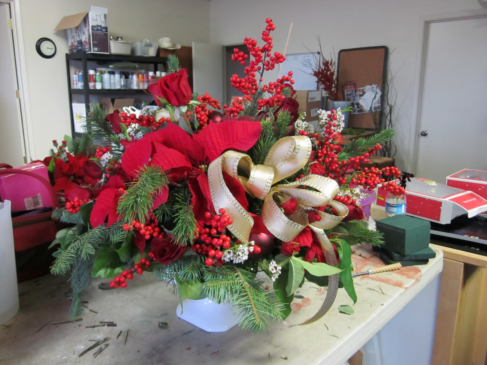 Brown bunny flowers christmas centerpiece at home
