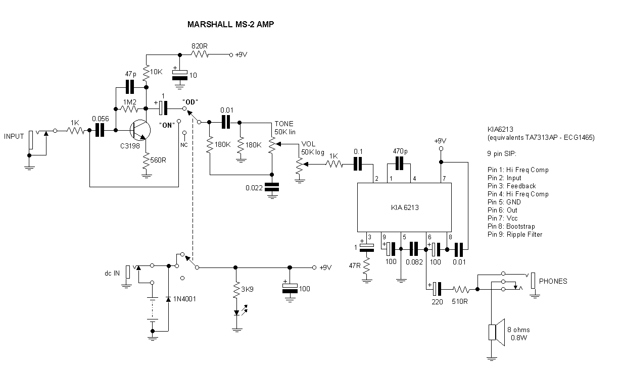 Modding The Marshall Ms 4 2 Micro Amplifier Guitar Dreamer Speakers Explained Basics Series Parallel Wiring Auxiliary Audio Input Mod Is Now Posted As A Schematic Diagram Below You Could Build An Ultra Simple Mixer To Add