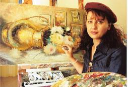 Sonia pintando Naturezas com Flôres.