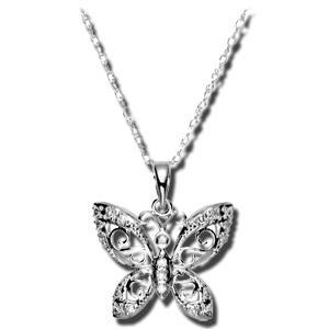 diamond butterfly pendant 14k
