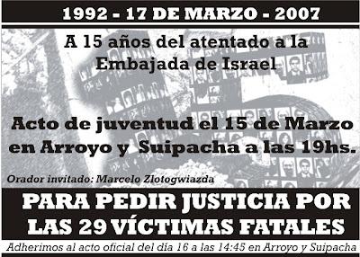 A 15 años del atentado contra la Embajada de Israel en Argentina