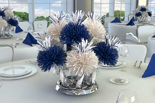 Kay learns to write september 2010 - Blue and white centerpieces ...