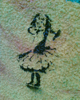 sticker graffiti of a little girl in a flouncy skirt, holding a hammer up over one shoulder