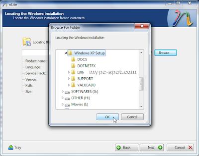 Pilih lokasi setup windows XP