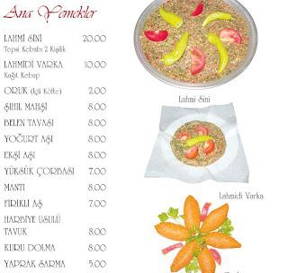 Menü ve fiyat listesi