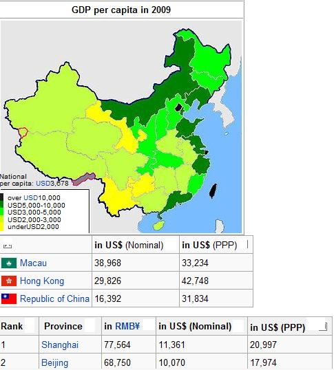 Wikipedia has a list of Chinese administrative divisions by GDP per capita