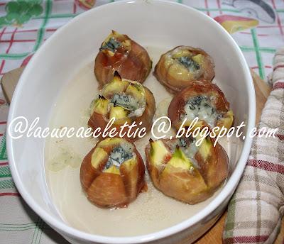 Involtini di prosciutto con fichi e gorgonzola
