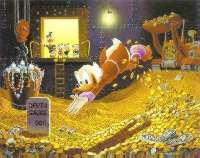 Scrooge McDuck swimming in money
