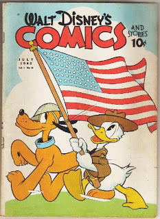Patriotic Pluto and Donald Duck on the cover of Walt Disney's Comics