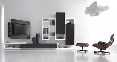 Black and White Living Room Furniture with Functional Tv Stand