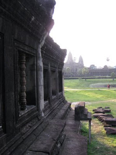 Inside Angkor Wat right after sunrise.