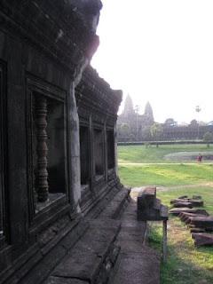 Inside Angkor Wat right after sunrise.