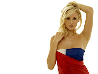 Adriana Sklenarikova in Cool Sleeveless Flag Dress on Stunning Model Photoshoot