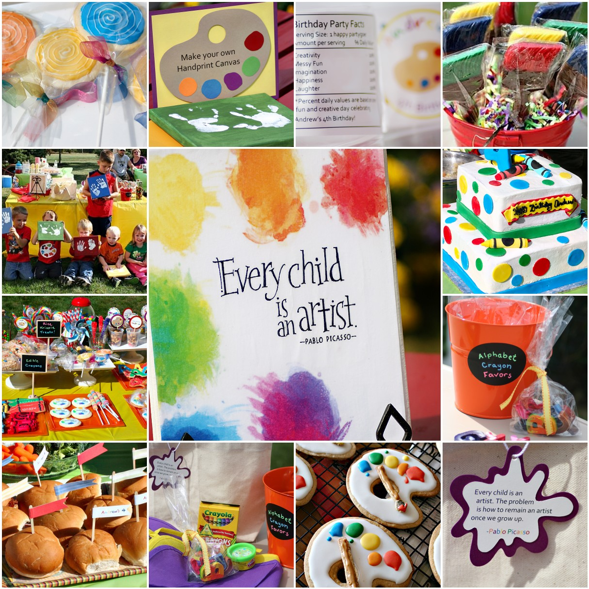 Cutest little things 4th birthday little picasso art party for Kids paint party
