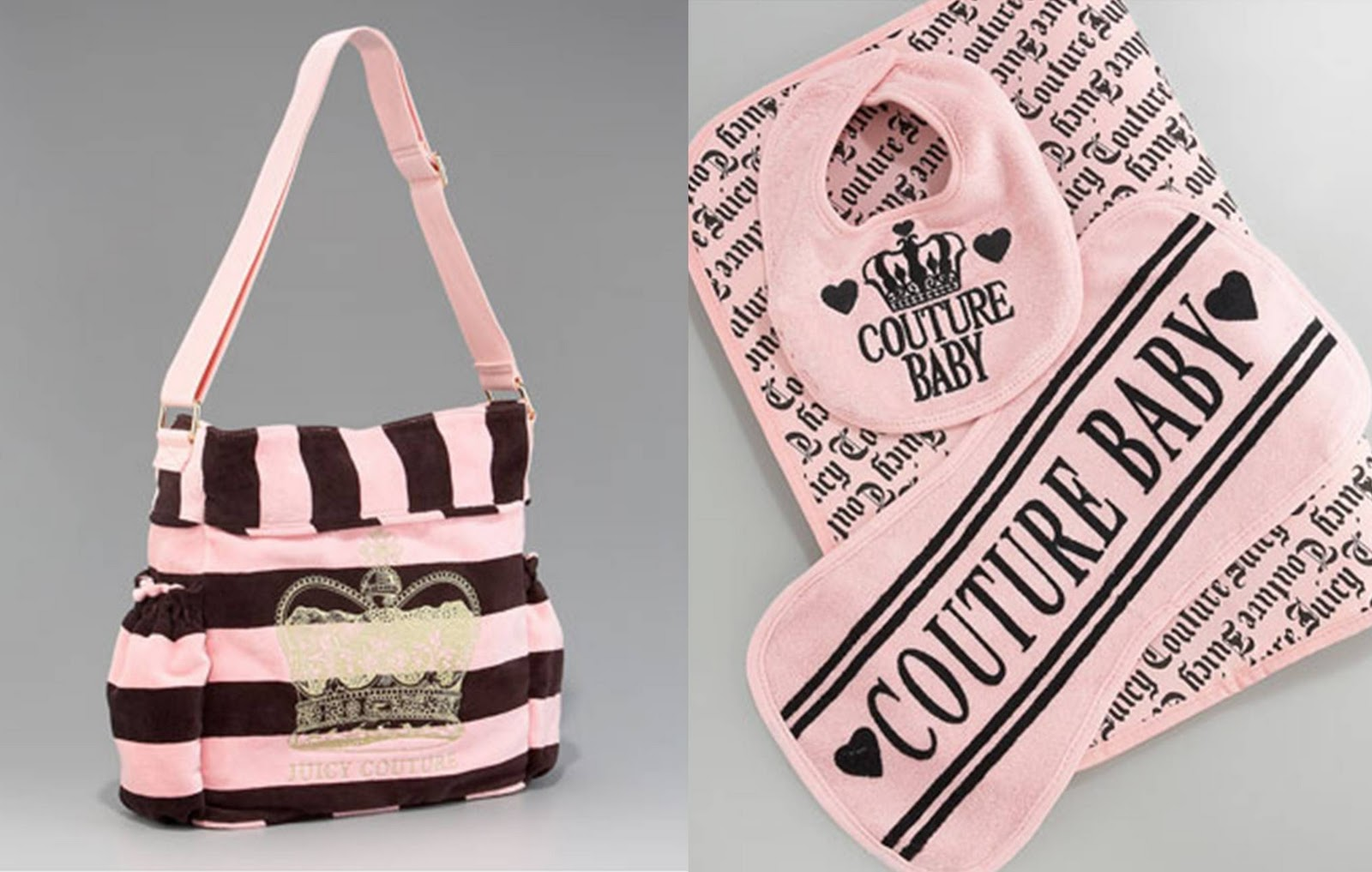 designer baby diaper bags for cheap z3l1  Juicy Couture Striped Stroller Bag
