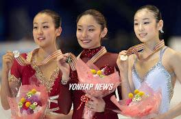 Podium del campeonate del mundo de patinaje artistico del 2007 en Tokio, Japon