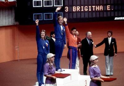 Petra Priemer, Kornelia Ender y Enith Brigitha, Montreal 1976