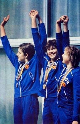 Ina Kleber, Rica Reinisch y Petra Riedel, Moscú 1980