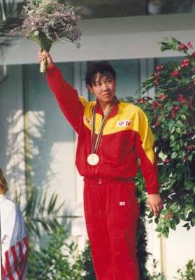 Barcelona 1992 - Qiang Hong, campeona en los 100 metros mariposa