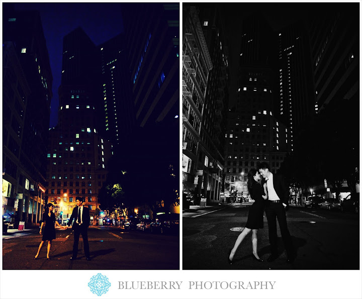 San Francisco downtown evening engagement photographer