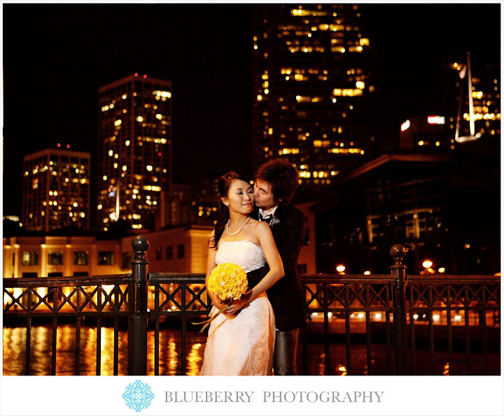 san francisco pier 7 evening bridal portraits
