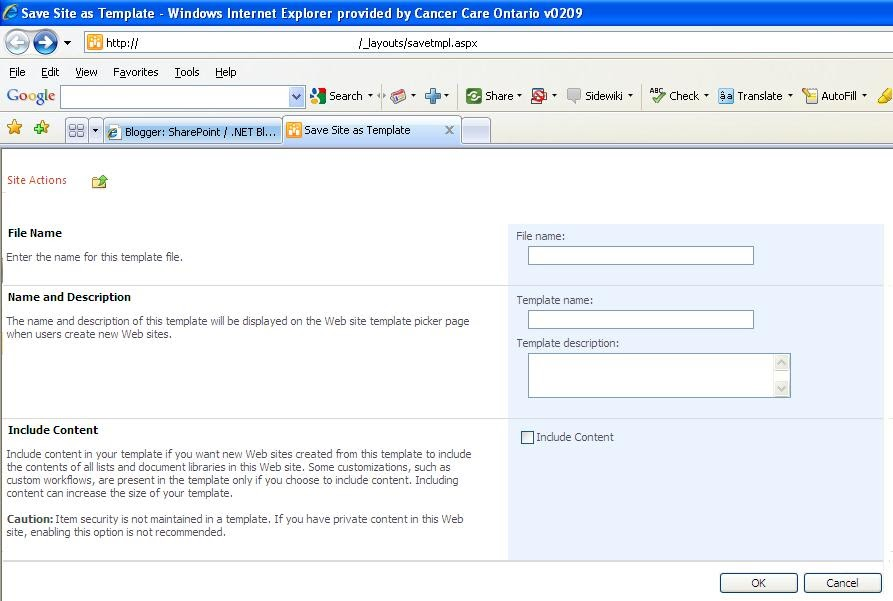 sharepoint 2007 site templates - sharepoint net blog save site as template in