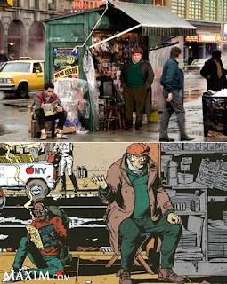 Fotogramas en donde se comparan la construcción de la escena relizada por Gibbons en la historieta (abajo), frente al plató construído para la película