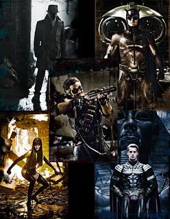 Mosaico realizado con fotogramas de los personajes principales de la historia, aparecen Rorschach, Búho Nocturno, El Comediante, Silk Spectre II y Ozymandías