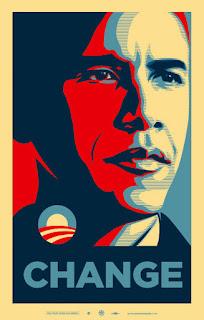 Uno de los tres afiches de la campaña Obama Presidente. El mensaje es claro: CAMBIO